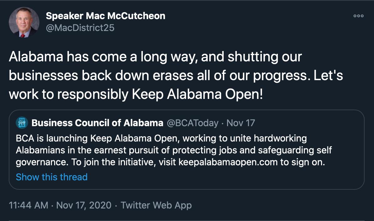 Mac McCutcheon 'Keep Alabama Open' tweet