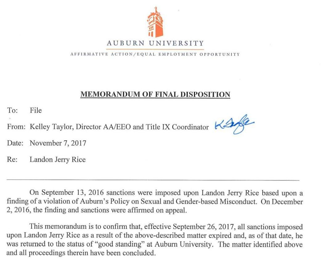 Auburn memo on Landon Rice