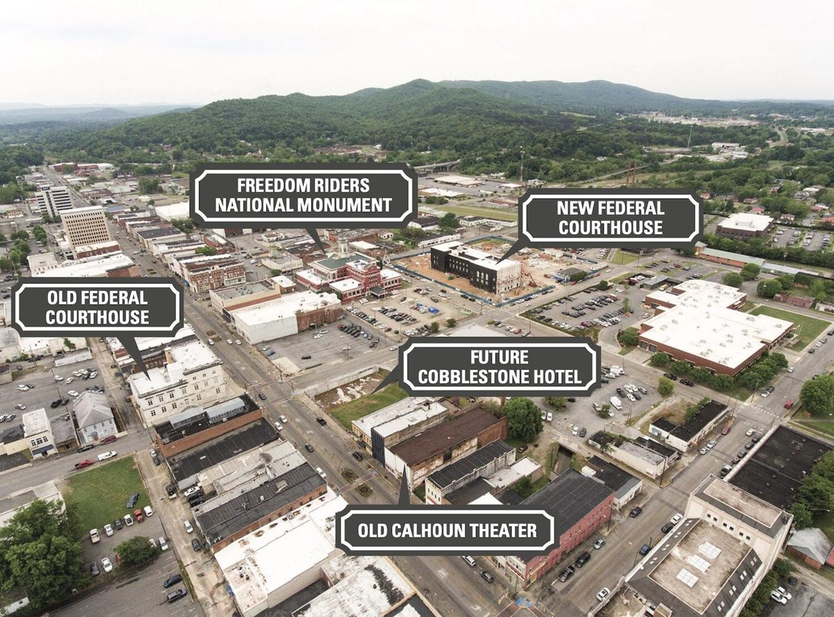 Downtown Anniston aerial