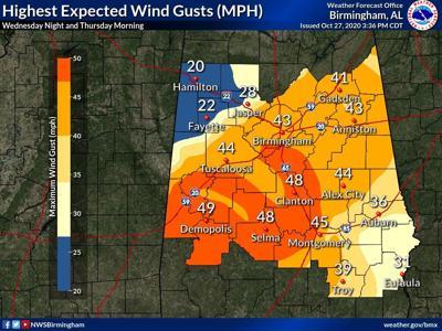 Topical Storm Zeta wind forecast map 10-27-20