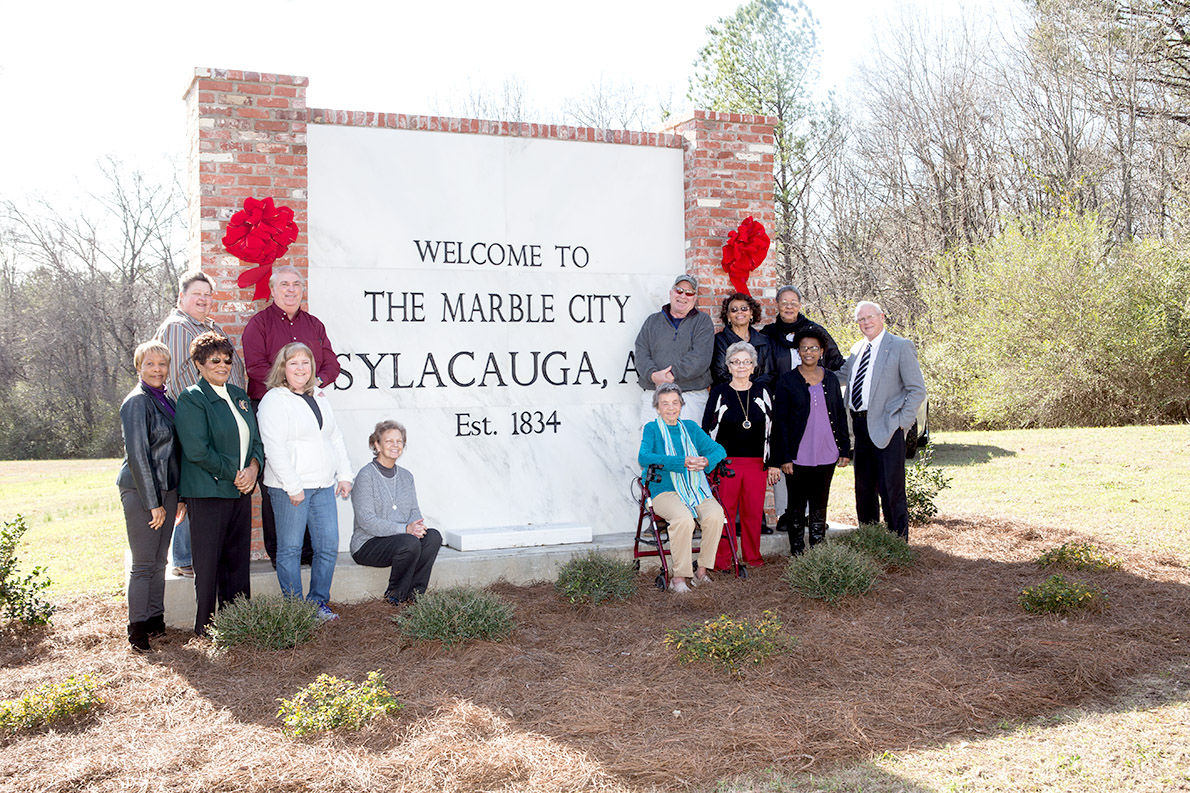 Sylacauga Beautification Council landscapes welcome sign