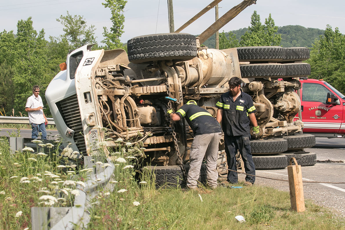 Cement truck overturned on 275