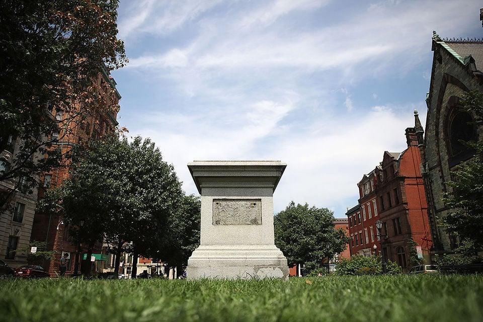 Empty statue pedestal in Baltimore