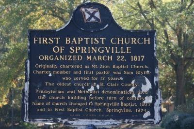 First baptist church in Springville sign