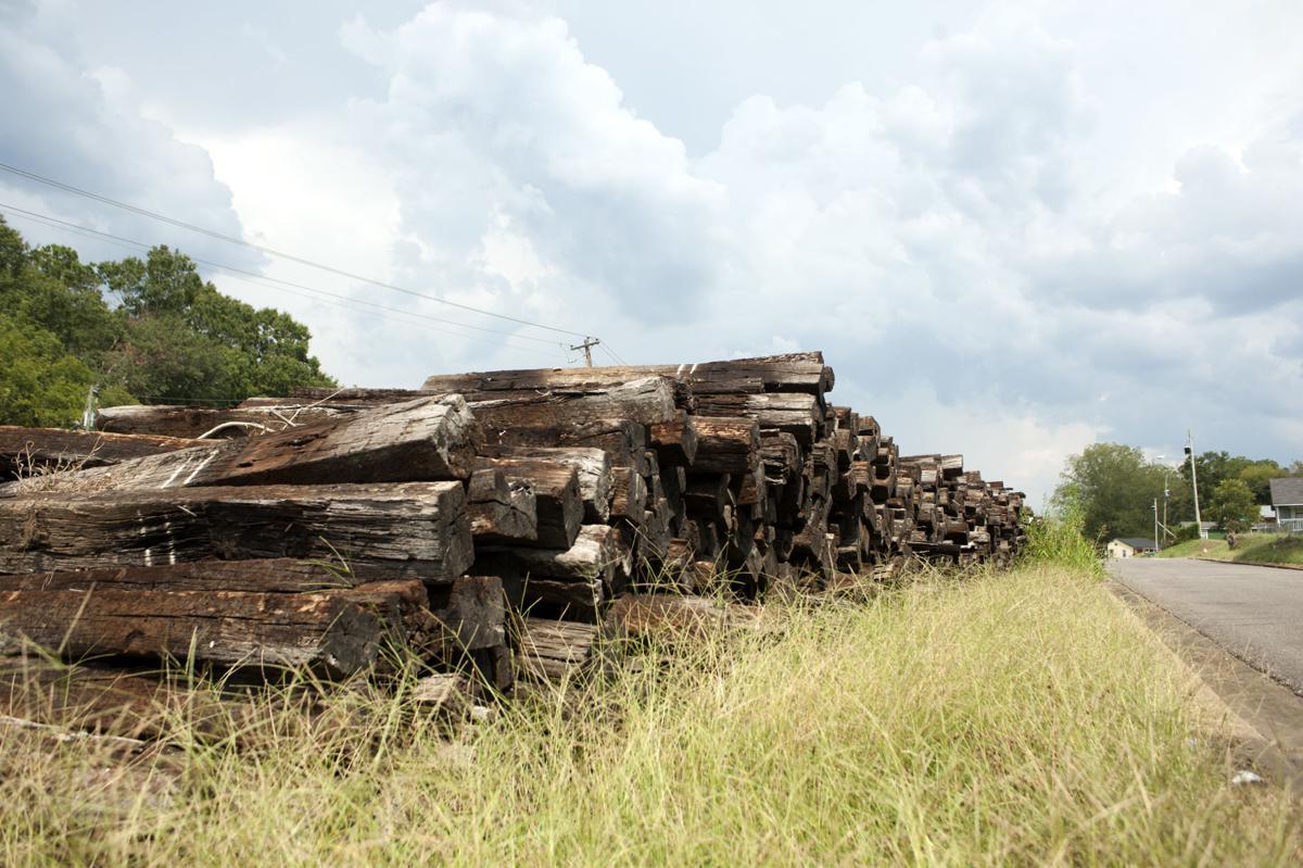 Railroad ties piled on Pullam St Talladega 2 tw.jpg