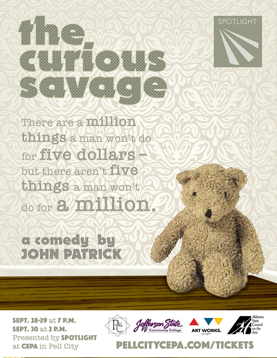 Promotional poster for 'The Curious Savage'