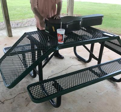Damaged table at Sylacauga's Noble Park