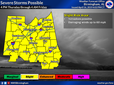 Severe weather a possibility Thursday