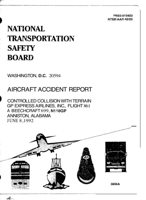 NTSB report cover