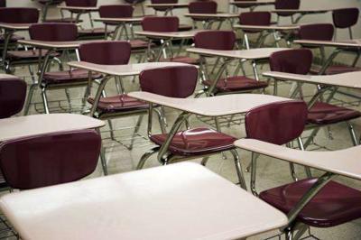 School, classroom, desks, empty