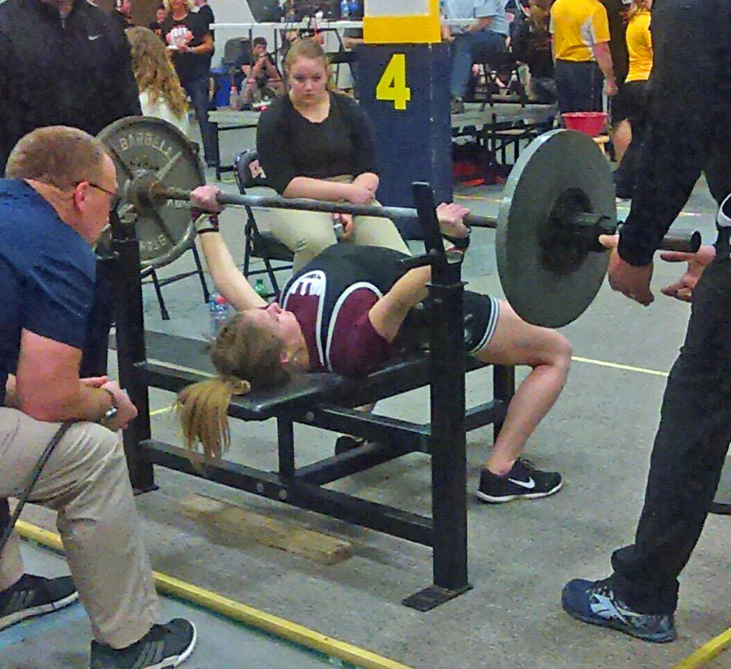 Record Bench Part - 46: Annika Angelo Finishes Her Record-breaking Bench Lift Of 145 Pounds.