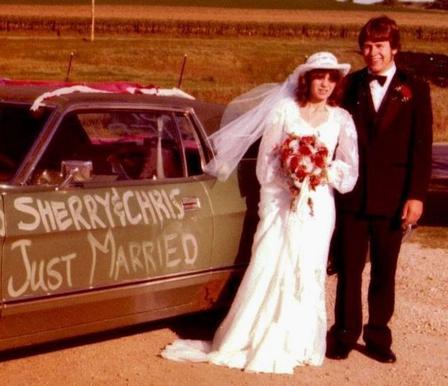 Newlyweds Chris and Sherry Hardie post Sept. 4, 1982, with their 1971 Ford Galaxie.jpg
