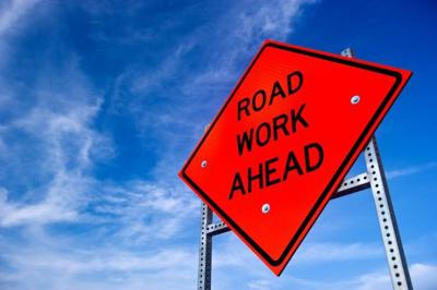 Road work ahead sign, construction