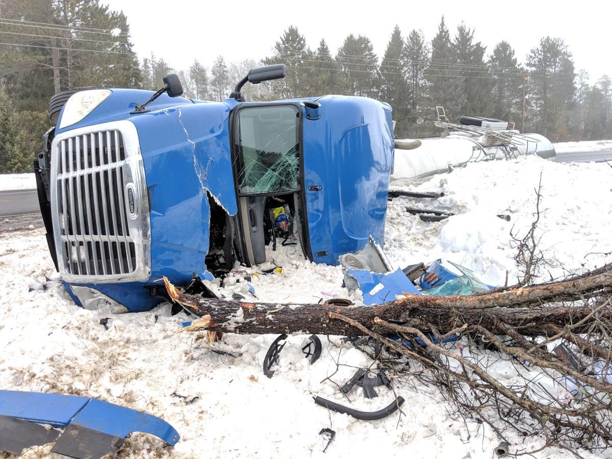Tanker truck in the ditch