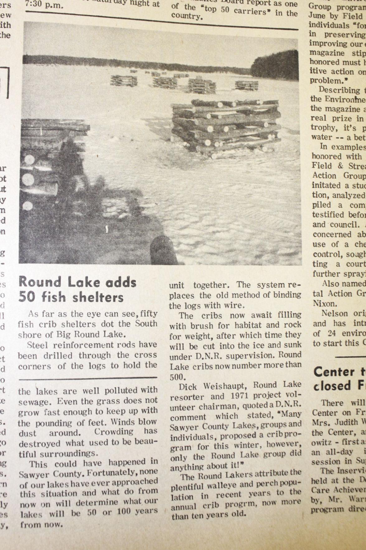 1971 fish cribs on Round Lake