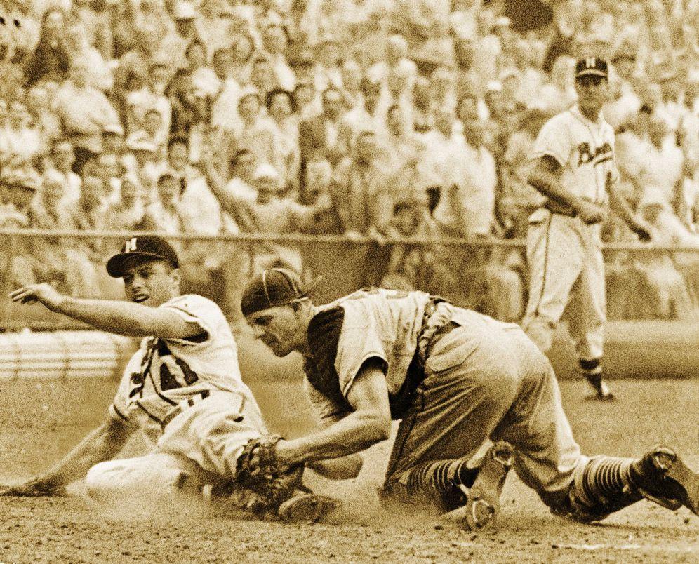 Eddie Mathews slides into home in 1957 photo.jpg