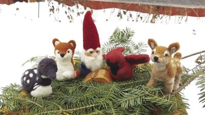 Needle felted gnomes/nisse with woodland friends