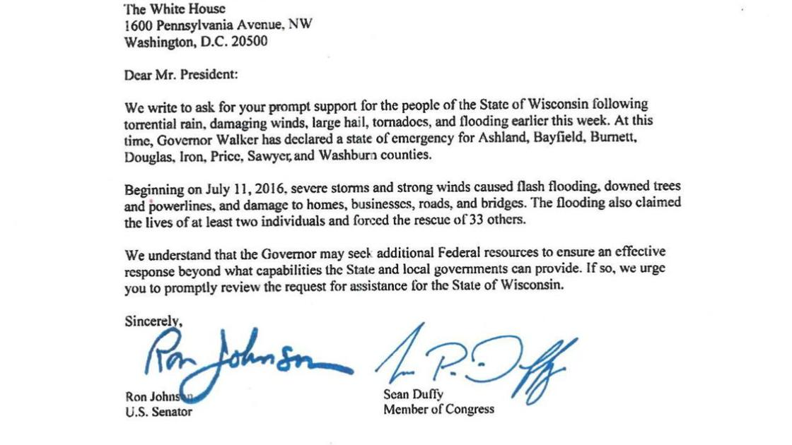 Letter Requesting Disaster Relief Apg Wi Com