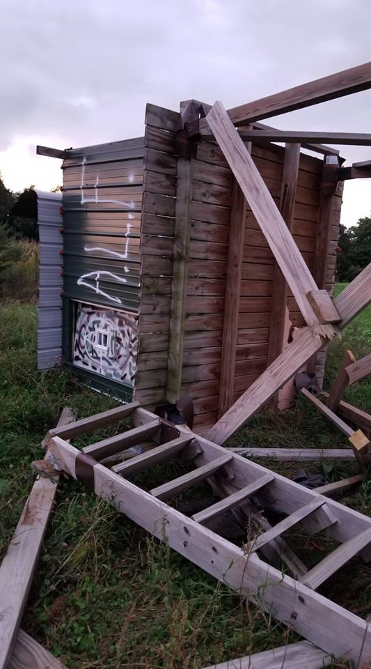 Damaged deer stand in Dunn County