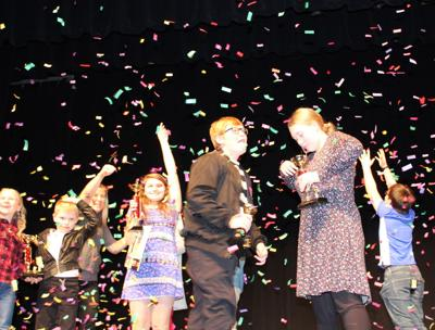 Confetti fell like snowflakes on Talent Show