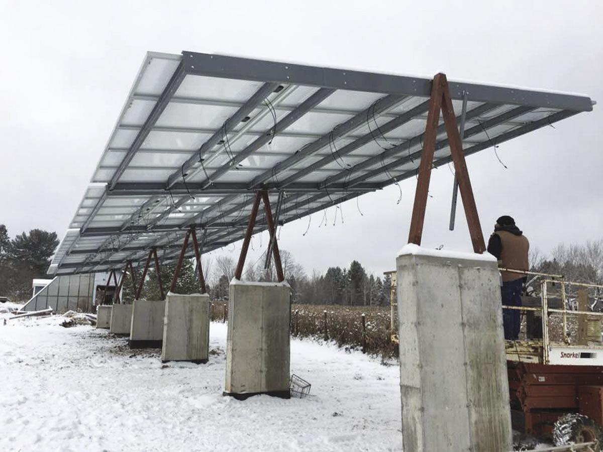 Solar array on large pillars