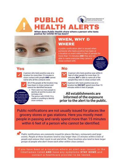 Public health alert, notification