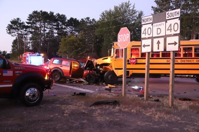 SUV collides with school bus at Hwy. 40 and 48