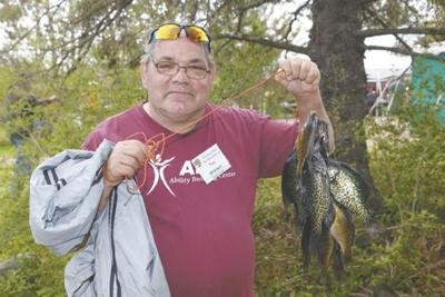 Stringer of crappies