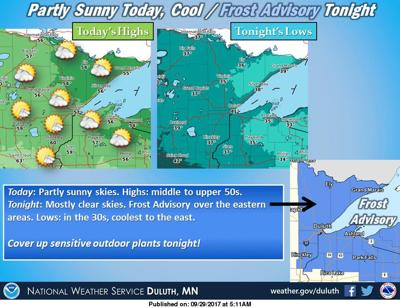 Frost possible overnight on September 29-30