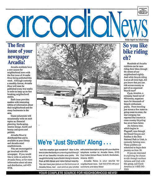 First Edition of Arcadia News