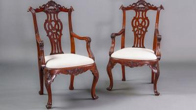 Vintage chippendale armchairs