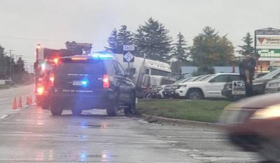 Crashing semitruck wrecks parked vehicles