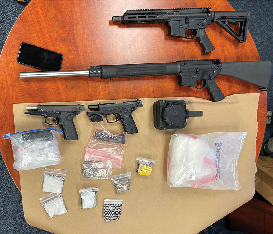 Loaded guns, pounds of narcotics – including meth, heroin, fentanyl – found during bust on Monday