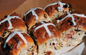 Hot cross buns, if ye have no daughters, give them to your sonsone a penny, two a penny, hot cross buns