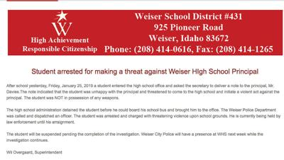 Student, 18, arrested for threat against Weiser High School principal