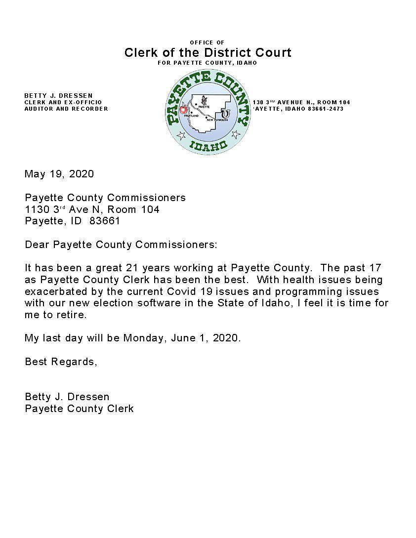 Betty Dressen resignation letter