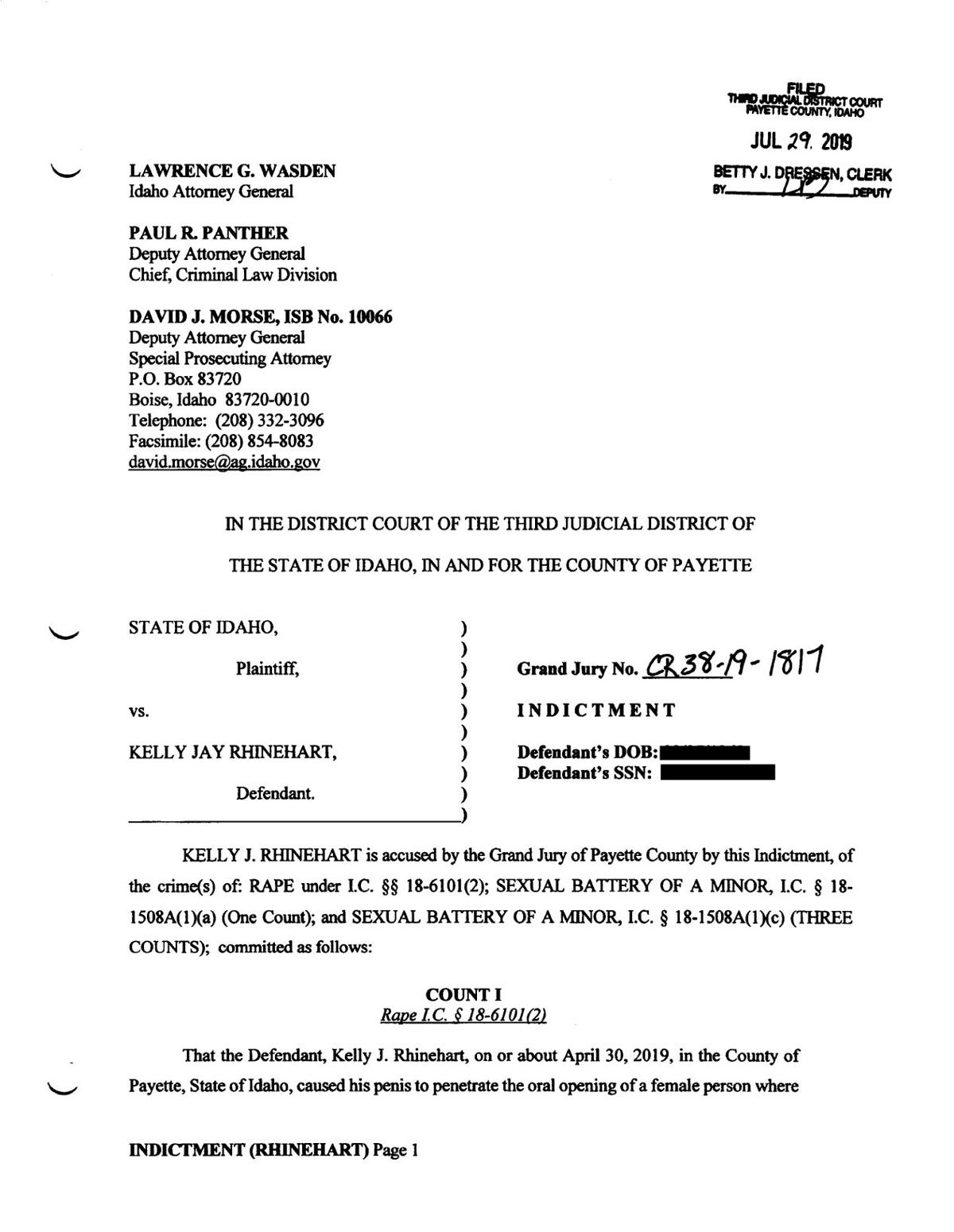 Kelly Rhinehart Indictment page 1