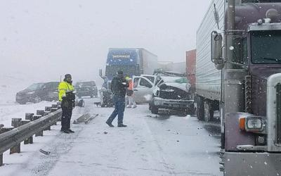 Fog, snow, crashes close Interstate 84 between Baker City and Pendleton