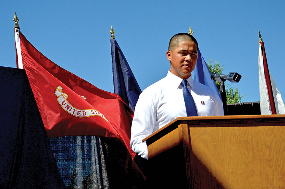 Andrew Maeda gives a speech about the Nisei soldiers