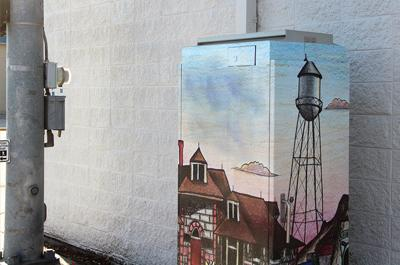 City cleans up vandalism on newly installed vinyl art wrap on utility box