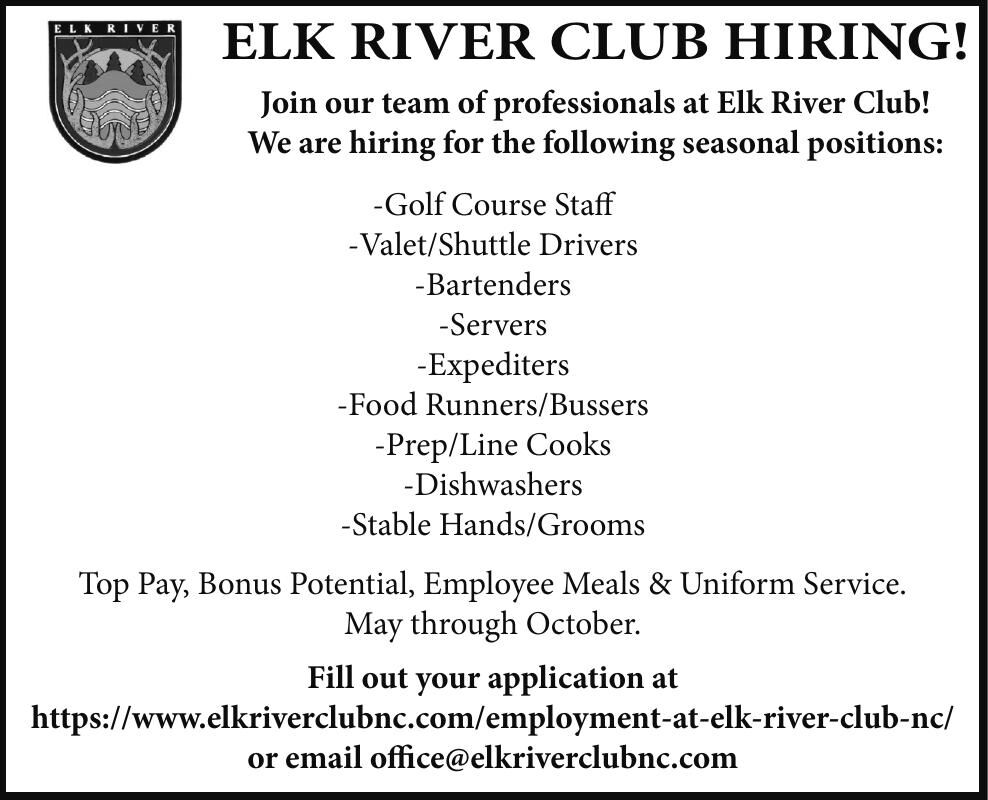 Elk River Club is HIRING!