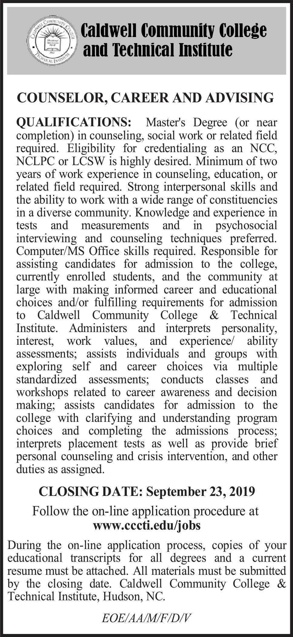 counselor, career and advising
