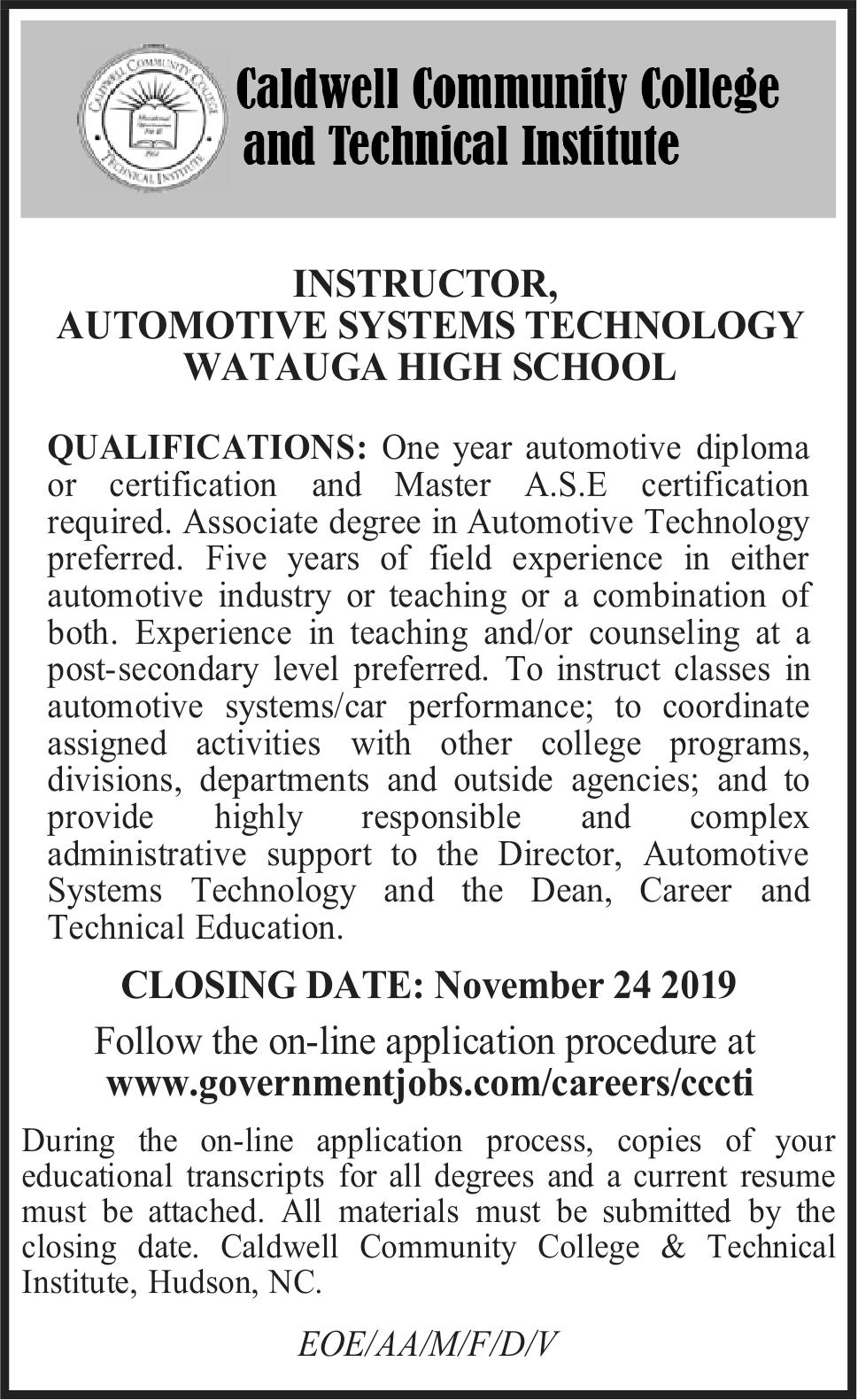 Instructor, Automotive Systems Technology Watauga High School