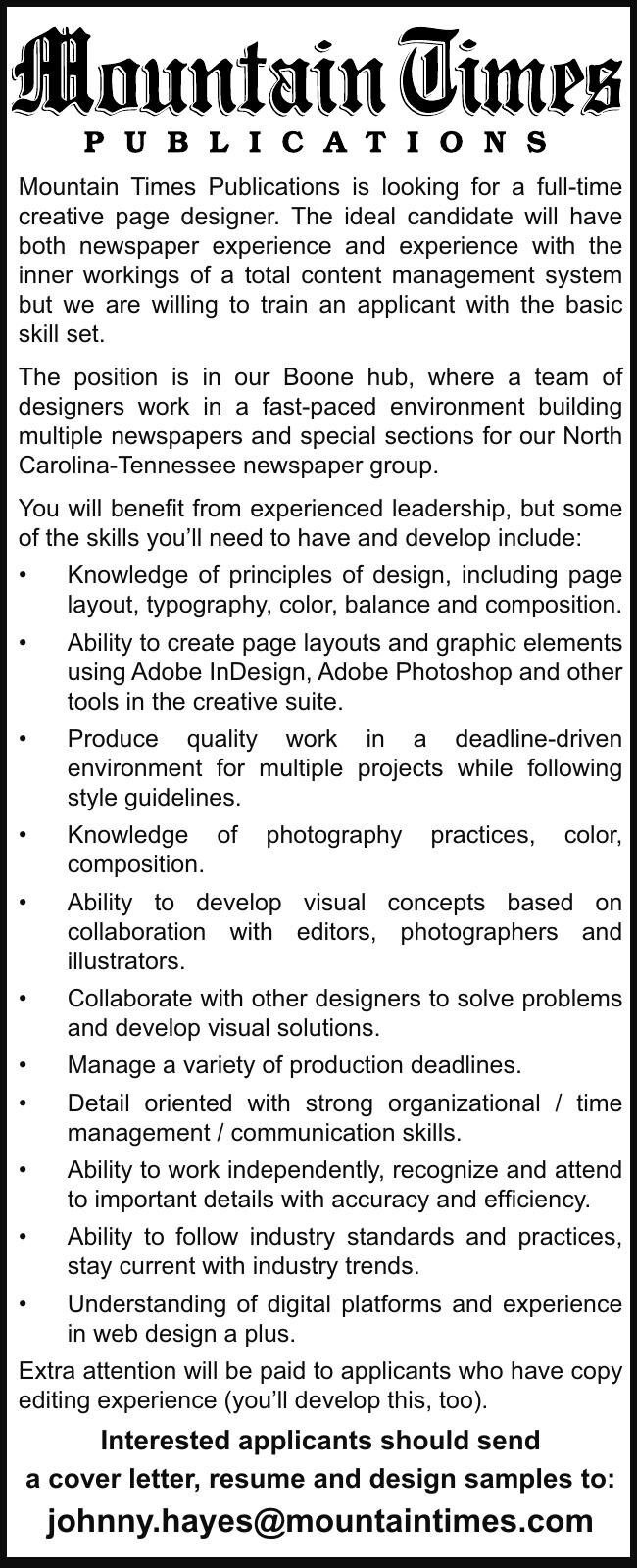 Mountain Times Publications is looking for a full-time