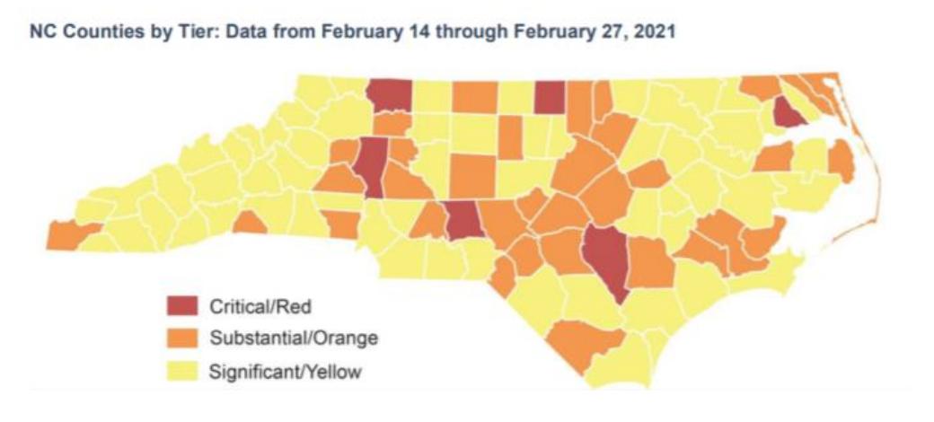 NC County Covid Map 3/9
