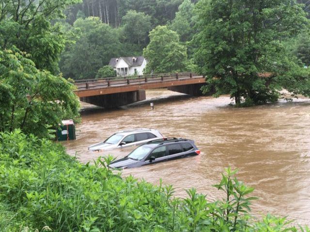 Flooding under Castleford Bridge at Todd Island Park