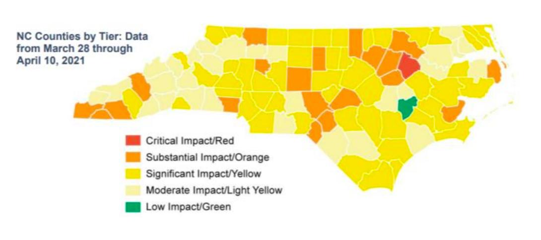 NC Covid Map 4/21