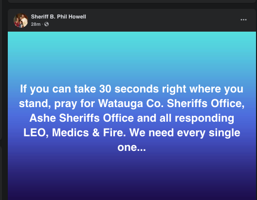 Request for prayers from Ashe County sheriff