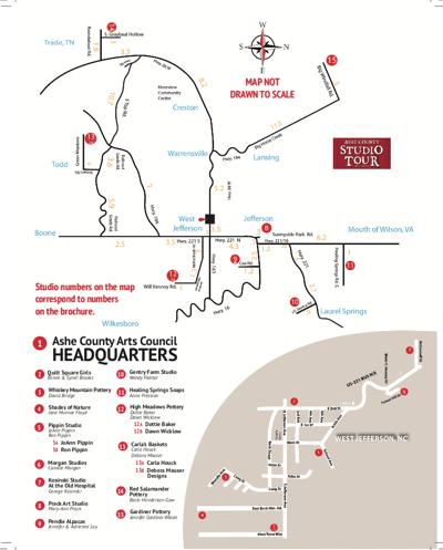 Ashe County Studio Tour map