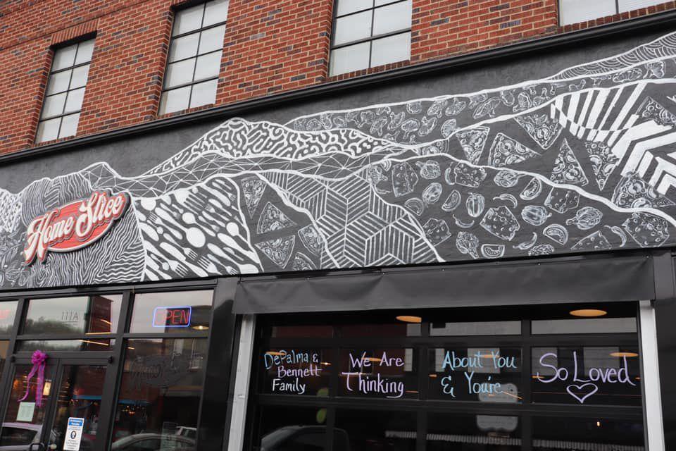 Home Slice window art